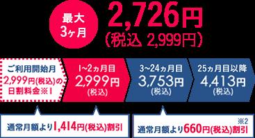 最大3ヶ月 2,726円(税抜)